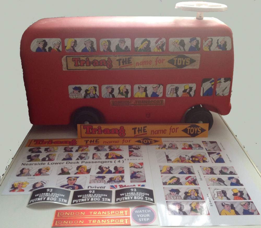 "02BB LARGE Tri-ang Triang STRIDA plastic ROUTEMASTER Bus "" Peel and Stick "" decal set"
